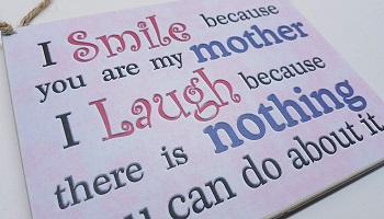 Humorous plague gift for mum