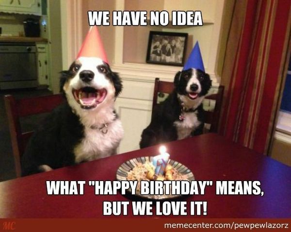 Funny birthday meme - We have no idea what happy birthday means but we love it, https://giftedgeek.co.uk/
