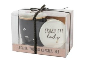 Mug and coaster gift for cat lovers