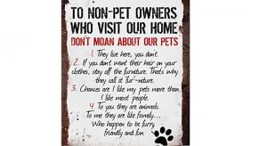 Wall plaque with rules for non-pet owners