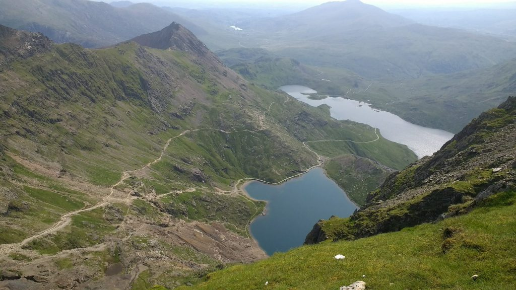 Lake Glaslyn in the foreground with Llyn Llydaw in the background
